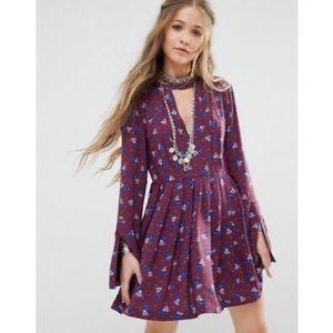 Free People purple long-sleeve keyhole mini dress